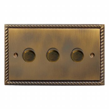 Georgian Dimmer Switch 3 Gang Antique Brass Lacquered