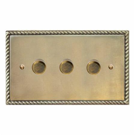 Georgian Dimmer Switch 3 Gang Antique Satin Brass