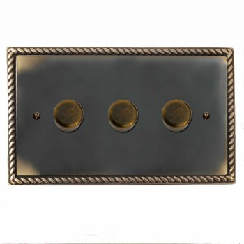 Georgian Dimmer Switch 3 Gang Dark Antique Relief