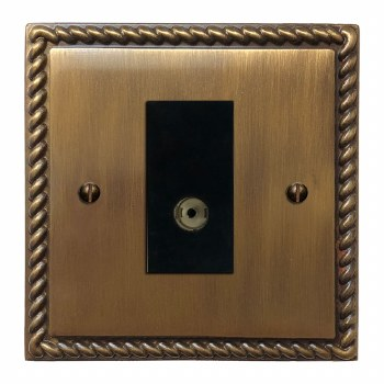 Georgian TV Socket Outlet Antique Brass Lacquered
