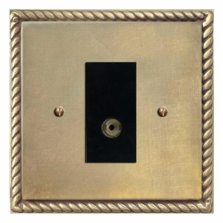 Georgian TV Socket Outlet Antique Satin Brass