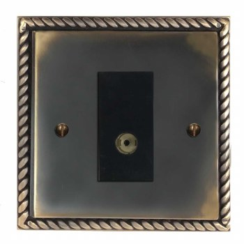 Georgian TV Socket Outlet Dark Antique Relief
