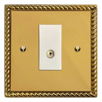 Georgian TV Socket Outlet Polished Brass Lacquered & White Trim