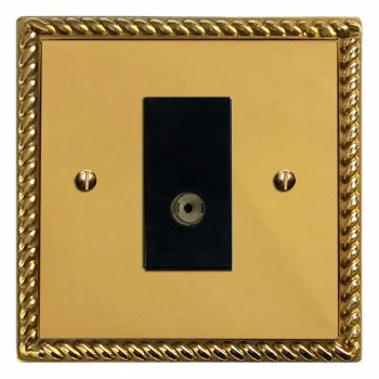 Georgian TV Socket Outlet Polished Brass Lacquered & Black Trim