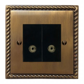Georgian TV Socket Outlet 2 Gang Antique Brass Lacquered