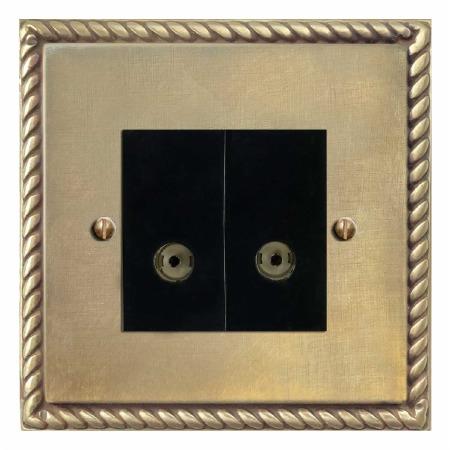 Georgian TV Socket Outlet 2 Gang Antique Satin Brass