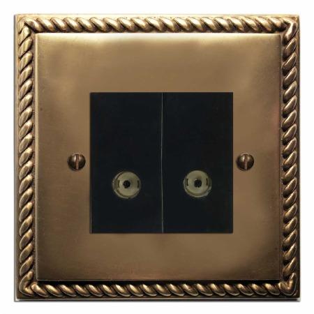 Georgian TV Socket Outlet 2 Gang Hand Aged Brass
