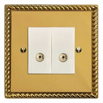 Georgian TV Socket Outlet 2 Gang Polished Brass Lacquered & White Trim