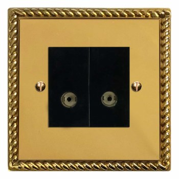 Georgian TV Socket Outlet 2 Gang Polished Brass Unlacquered