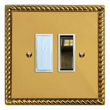 Georgian Switched Fused Spur Polished Brass Lacquered & White Trim