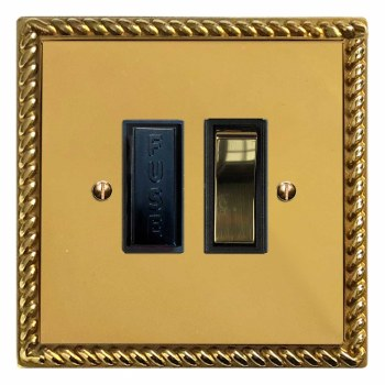 Georgian Switched Fused Spur Polished Brass Lacquered & Black Trim