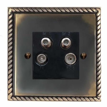 Georgian Quadplex TV Socket Dark Antique Relief