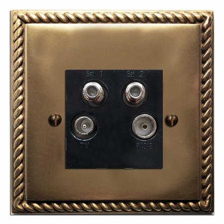 Georgian Quadplex TV Socket Hand Aged Brass