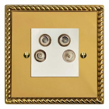 Georgian Quadplex TV Socket Polished Brass Lacquered & White Trim