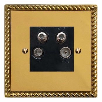Georgian Quadplex TV Socket Polished Brass Lacquered & Black Trim