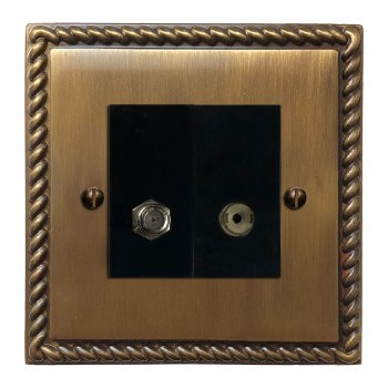 Georgian Satellite & TV Socket Outlet Antique Brass Lacquered