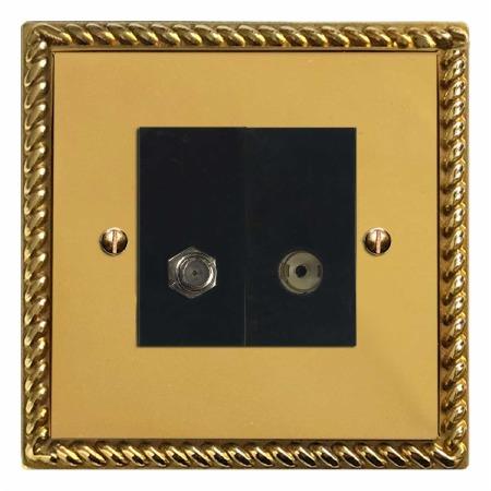 Georgian Satellite & TV Socket Outlet Polished Brass Unlacquered