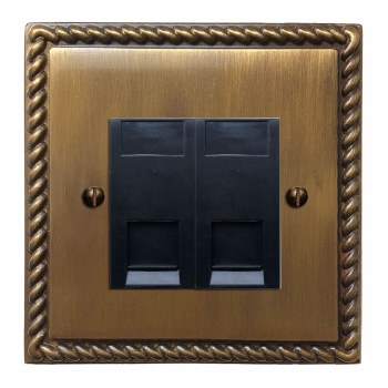 Georgian Telephone Socket Secondary 2 Gang Antique Brass Lacquered