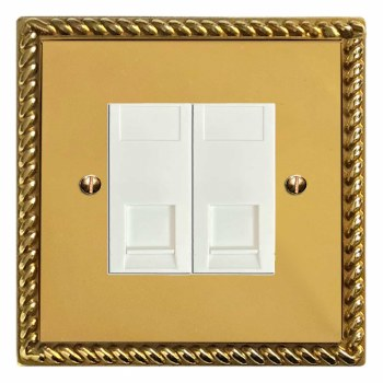 Georgian Telephone Socket Secondary 2 Gang Polished Brass Lacquered & White Trim