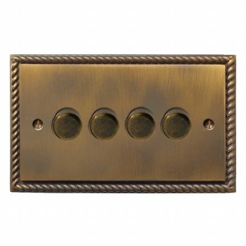 Georgian Dimmer Switch 4 Gang Antique Brass Lacquered