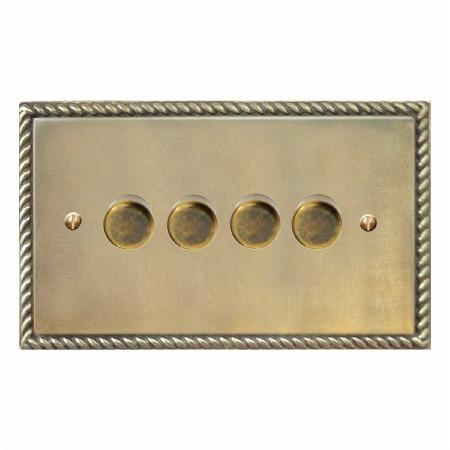 Georgian Dimmer Switch 4 Gang Antique Satin Brass