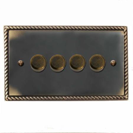 Georgian Dimmer Switch 4 Gang Dark Antique Relief