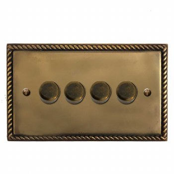 Georgian Dimmer Switch 4 Gang Hand Aged Brass