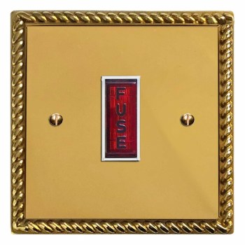 Georgian Fused Spur Connection Unit Illuminated Indicator Polished Brass Lacquered & White Trim