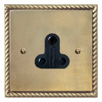 Georgian Lighting Socket Round Pin 5A Antique Satin Brass