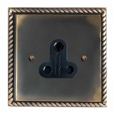 Georgian Lighting Socket Round Pin 5A Dark Antique Relief