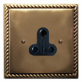 Georgian Lighting Socket Round Pin 5A Hand Aged Brass