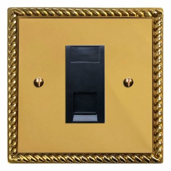 Georgian RJ45 Socket CAT 5 Polished Brass Lacquered