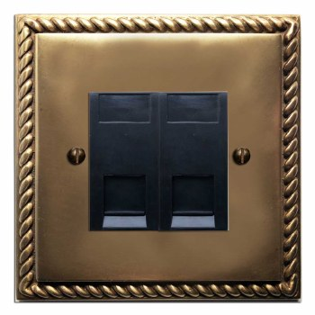 Georgian RJ45 Socket 2 Gang CAT 5 Hand Aged Brass