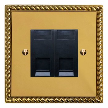 Georgian RJ45 Socket 2 Gang CAT 5 Polished Brass Lacquered & Black Trim