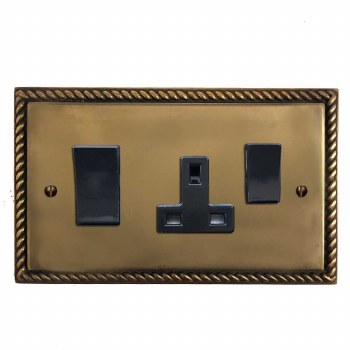 Georgian Socket & Cooker Switch Hand Aged Brass