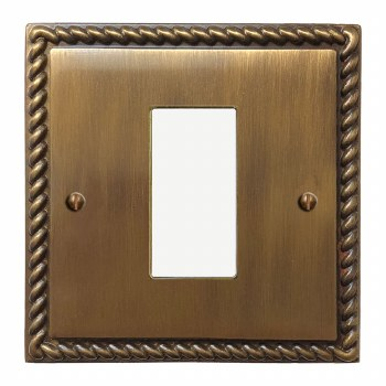Georgian Plate for Modular Electrical Components 50x25mm Antique Brass Lacquered