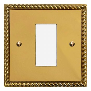 Georgian Plate for Modular Electrical Components 50x25mm Polished Brass Unlacquered
