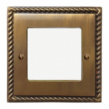 Georgian Plate for Modular Electrical Components 50x50mm Antique Brass Lacquered