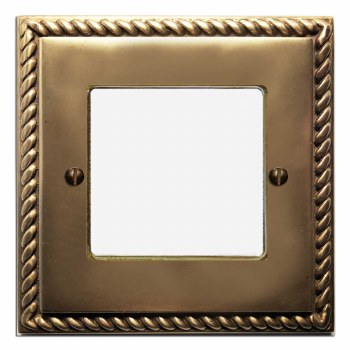 Georgian Plate for Modular Electrical Components 50x50mm Hand Aged Brass