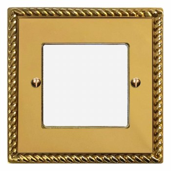 Georgian Plate for Modular Electrical Components 50x50mm Polished Brass Unlacquered