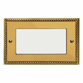 Georgian Plate for Modular Electrical Components 50x100mm Polished Brass Unlacquered
