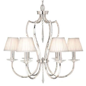 Elstead Pimlico 6 Arm Chandelier Nickel