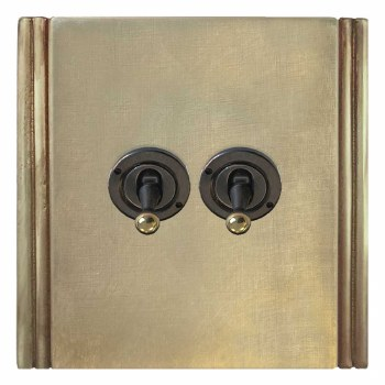 Plaza Dolly Switch 2 Gang Antique Satin Brass