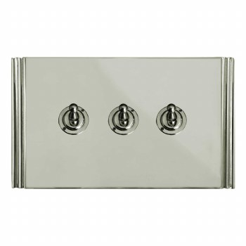 Plaza Dolly Switch 3 Gang Polished Nickel