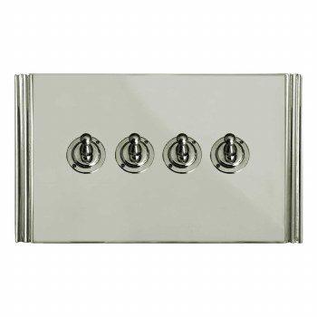 Plaza Dolly Switch 4 Gang Polished Nickel