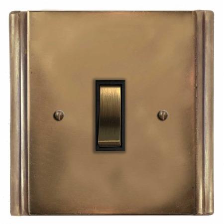 Plaza Rocker Light Switch 1 Gang Hand Aged Brass