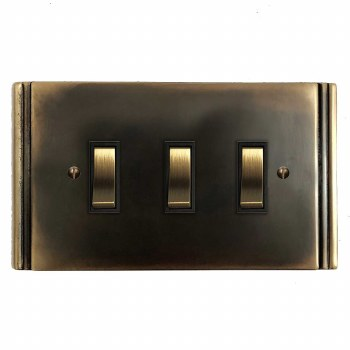 Plaza Rocker Light Switch 3 Gang Dark Antique Relief