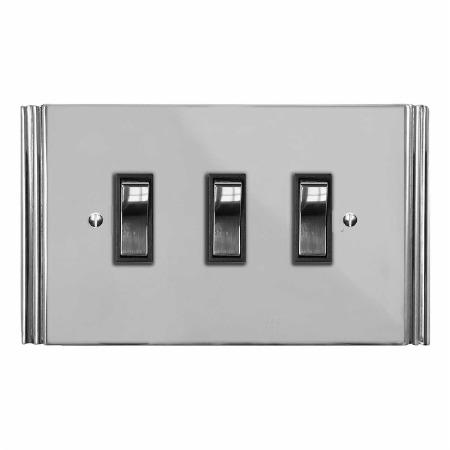 Plaza Rocker Light Switch 3 Gang Polished Chrome & Black Trim