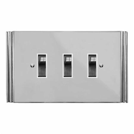 Plaza Rocker Light Switch 3 Gang Polished Chrome & White Trim