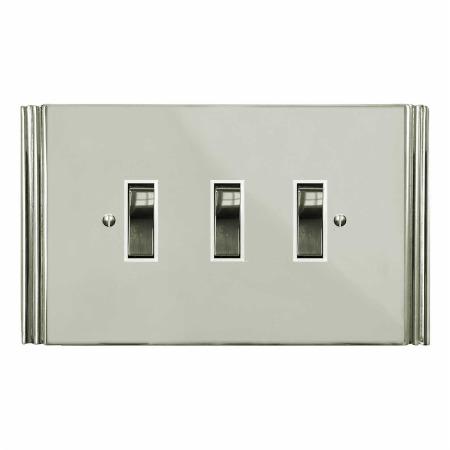 Plaza Rocker Light Switch 3 Gang Polished Nickel